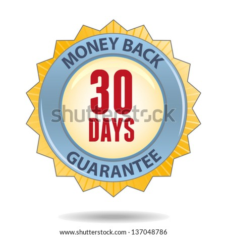 30 Days Money back guarantee golden badge - stock vector