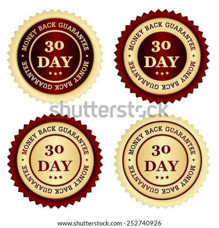 30 days money back guarantee stamps in different colors red and gold - stock vector