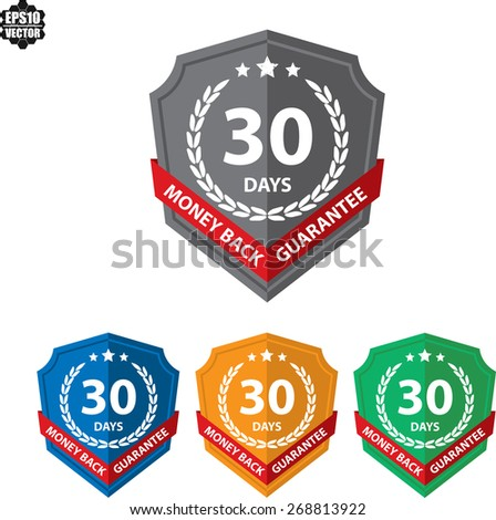 60 Days Money Back Guaranteed Label And Sticker With Green Badge Sign. Vector illustration - stock vector