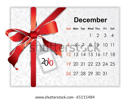 2010 December holiday calendar with Christmas decoration - stock vector