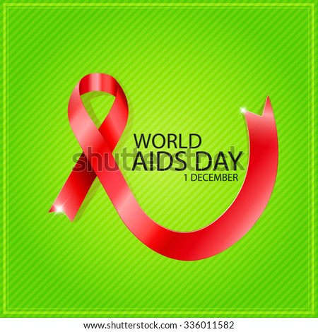 1 December World Aids Day poster with text and red ribbon of aids awareness. Editable - very easy to use. - stock vector