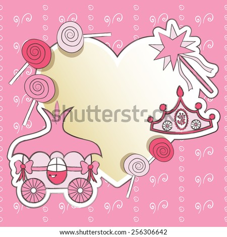 Decorative frame with carriage little Princess, a crown and a magic wand - stock vector