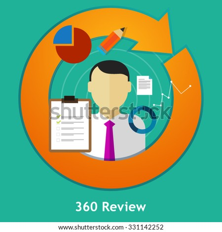 360 degree review feedback evaluation performance employee human resource assessment  - stock vector
