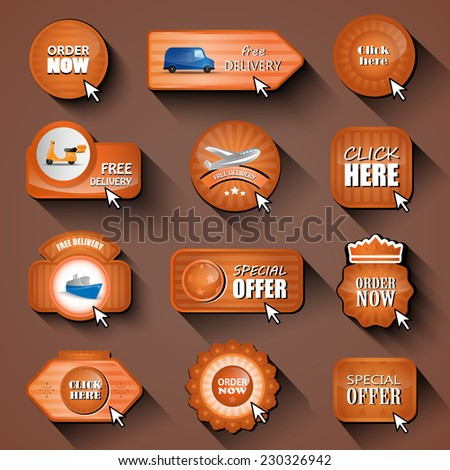 """Delivery"", ""Order"" And ""Click Here"" Design Elements, Stickers And Labels In Retro And Vintage Style - Isolated On Background. Vector Illustration, Graphic Design Editable For Your Design - stock vector"