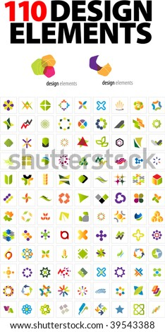 110 Design elements - stock vector