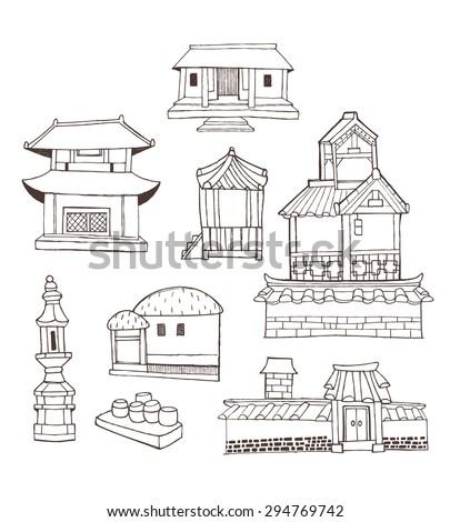 Architecture Design Elements design elements collection vintage style korean stock vector