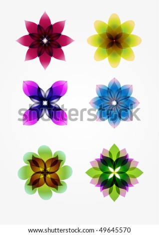 6 design elements(flowers) - stock vector