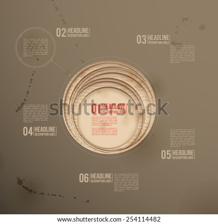 Design template. Dark background. Circle paper cutouts. - stock vector