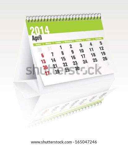 2014 desk calendar - vector illustration - stock vector