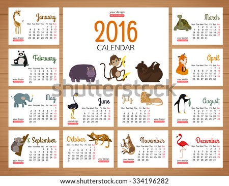 2016 desk calendar vector print template with zoo animals. Cartoon design calendar for children. Vector illustration.  - stock vector