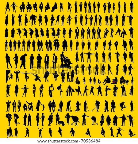 200 detailed human silhouettes - stock vector