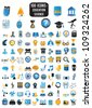 100 detailed icons of education and science - vector icons - stock vector