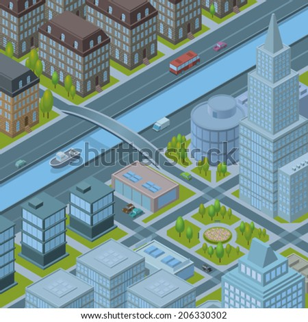 detailed vector illustration of isometric cityscape  - stock vector