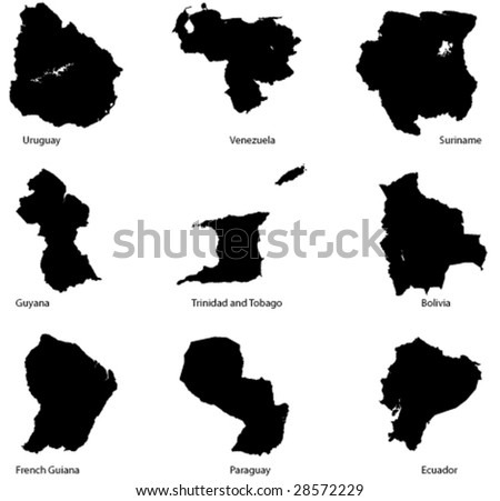 Detailed Vector maps set 4: South America - stock vector