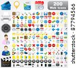 200 Detailed Web Icons - stock vector