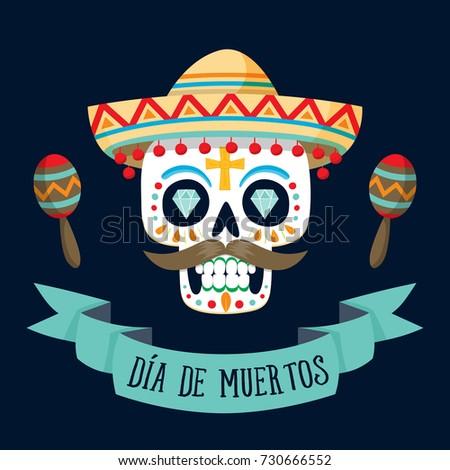 Dia de los muertos day dead stock vector hd royalty free 730666552 dia de los muertos day of the dead card with spanish text m4hsunfo
