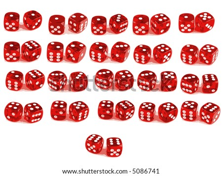 2 Dice close up - showing all 21 Combinations (Low poly count) - stock vector