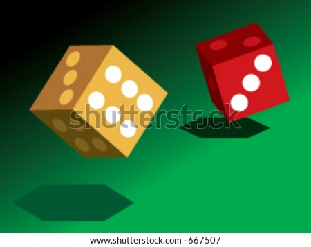 2 dice in vector format - stock vector