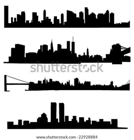 4 diferetns New York City Skylines - stock vector