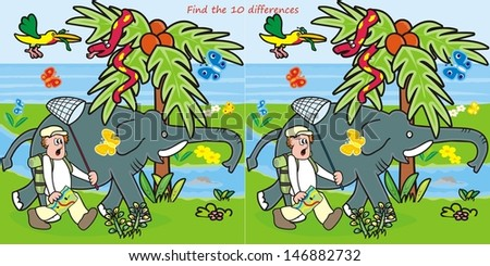 10 differences-man and elephant - stock vector