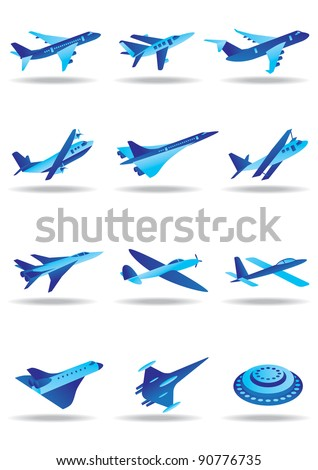 Different airplanes in flight icons - vector illustration - stock vector