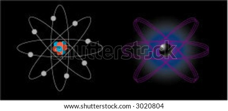 2 different atoms - stock vector