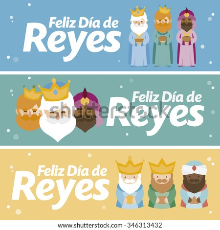 3 different banner. Happy epiphany in three different colors. Christmas vectors written in spanish - stock vector