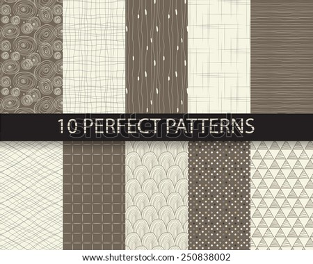 10 different beautiful classic linear and dot patterns. Endless texture can be used for wallpaper, pattern fills, web page background,surface textures,tile, greeting card, scrapbook, backdrop - stock vector
