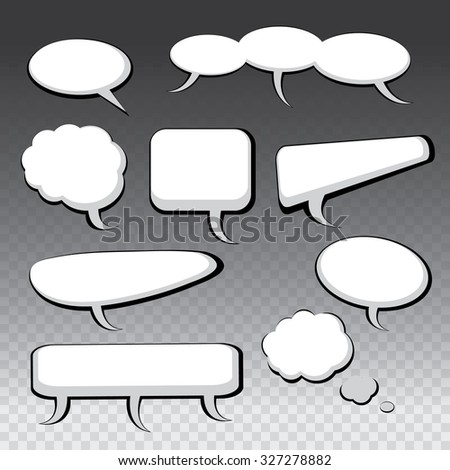 9 Different Black and White Speech And Thought Bubbles
