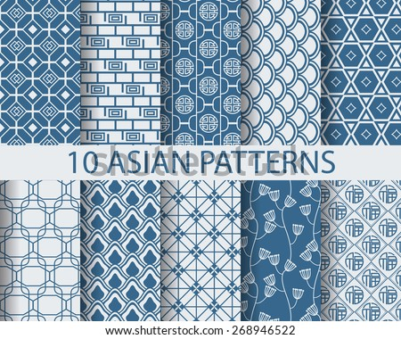 10 different chinese asian traditional patterns, Swatches, vector, Endless texture can be used for wallpaper, pattern fills, web page,background,surface   - stock vector