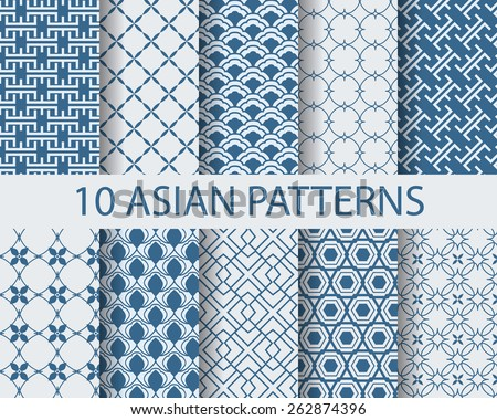 10 different chinese asian traditional seamless patterns, Swatches, vector, Endless texture can be used for wallpaper, pattern fills, web page,background,surface   - stock vector