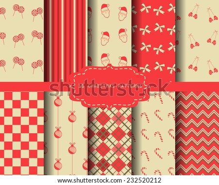 10 different christmas holiday seamless patterns, Swatches vector Endless texture can be used for wallpaper, pattern fills, web page,background,surface  - stock vector