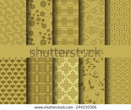 10 different classic traditional gold patterns. Endless texture can be used for wallpaper, pattern fills, web page background,surface textures.