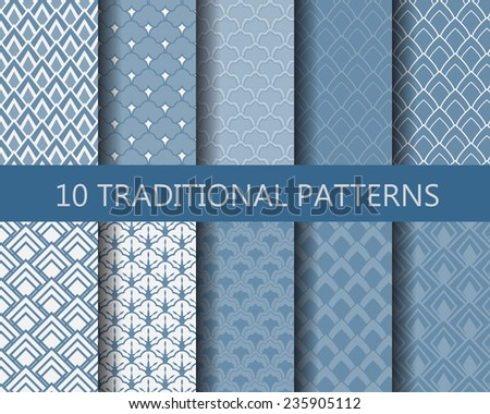 10 different classic wave seamless patterns set. Endless texture can be used for wallpaper, pattern fills, web page background,surface textures. - stock vector