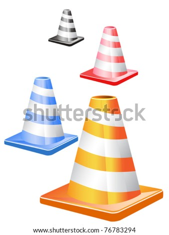 4 different color traffic cones in a row - stock vector