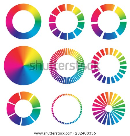 9 different color wheels. - stock vector