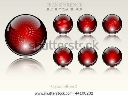 6 different crystal refracting spheres - vector illustration - stock vector