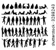 50 different highly detailed silhouettes of man - stock vector