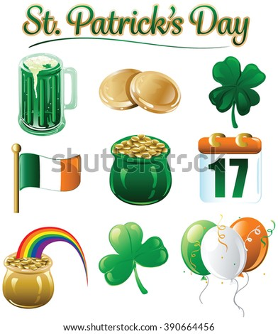 10 different icons and designs for St. Patricks day