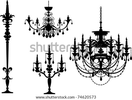 5 different illustrator black chandelier sihouette - stock vector