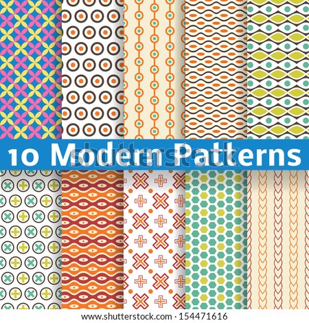 10 Different modern vector seamless patterns (tiling). Texture can be used for printing onto fabric and paper or scrap booking. - stock vector