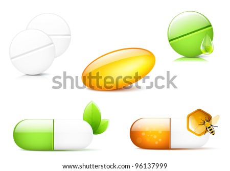 Different pills and capsules, illustration - stock vector