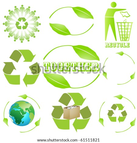 9 different recycling sign, symbol design. vector isolated on white