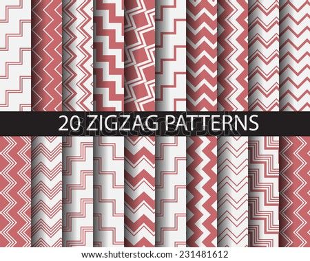 20 different red zigzag seamless patterns,  vector, Textures for wallpaper, fills, web page background, surface.  - stock vector