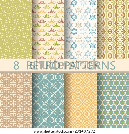 8 different retro patterns, design on vintage color. Endless texture can be used for wallpaper, pattern fills, web page, background, surface. vector illustration