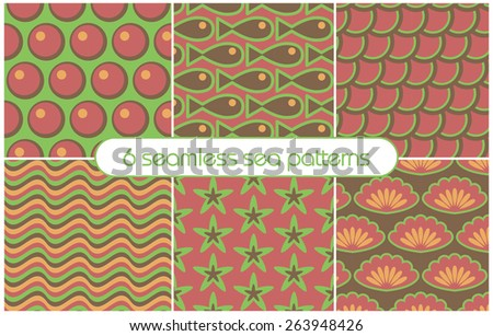6 different seamless sea patterns (tiling). Vector illustration for abstract aqua design. Endless texture can be used for fills, web page background, surface.  - stock vector