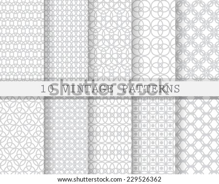 10 different  soft seamless patterns, Pattern Swatches, vector, Endless texture can be used for wallpaper, pattern fills, web page,background,surface