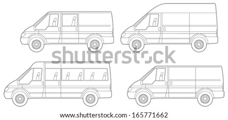 4 different van and people carrier conversions - stock vector