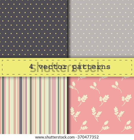 4 different vector seamless pattern. Endless texture can be used for wallpaper, pattern fills, web page background,surface textures.  - stock vector
