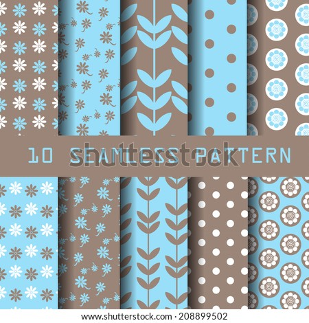 10 different vector seamless patterns. Endless texture can be used for wallpaper, pattern fills, web page background,surface textures.  - stock vector